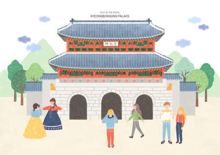 Travel and tourism concept, Famous Korean Landmarks illustration 001