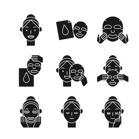 Beauty, cosmetics, skin care concept line icons set. Flat design illustration 040