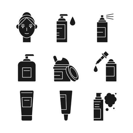 Beauty, cosmetics, skin care concept line icons set. Flat design illustration 042 Vettoriali