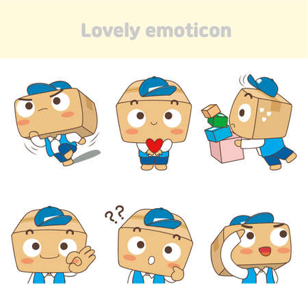 Cute lovely character emoticon set illustration 001