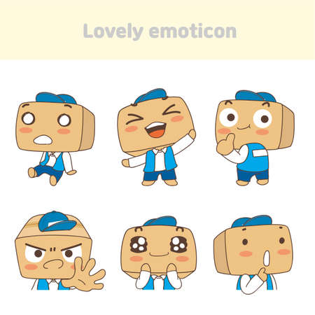 Cute lovely character emoticon set illustration 003