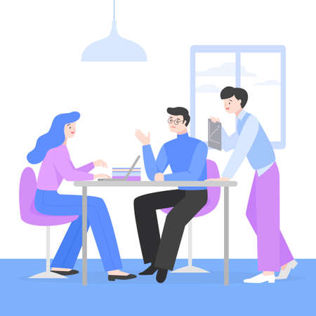 Business people, discussion, meeting, teamwork concept illustration 002 矢量图像