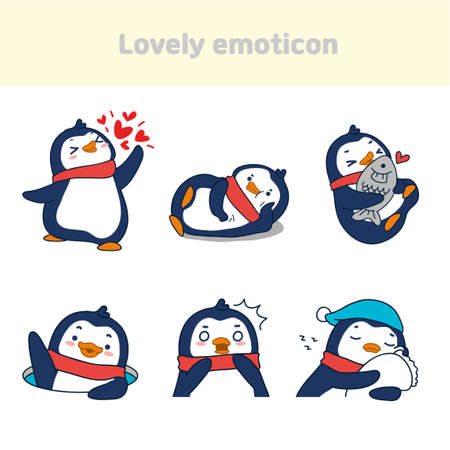 Cute lovely character emoticon set illustration 011