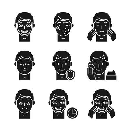 Beauty, cosmetics, skin care concept line icons set. Flat design illustration 045
