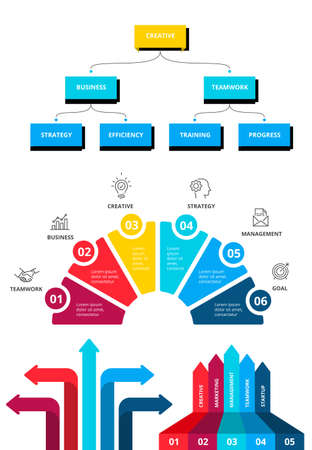 Business infographic template set. workflow layout, diagram, timeline elements 015 Çizim