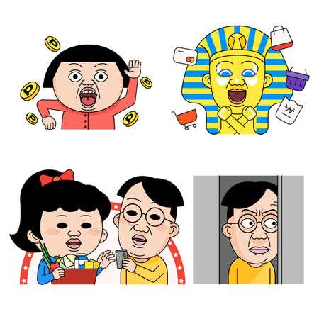 Facial emoticons, Various facial expressions set cartoon style 016