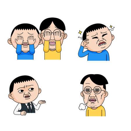 Facial emoticons, Various facial expressions set cartoon style 004