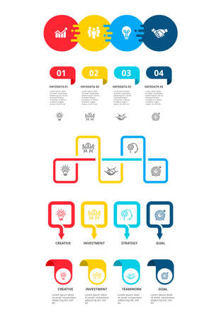 Business infographic template set. workflow layout, diagram, timeline elements 005 Çizim