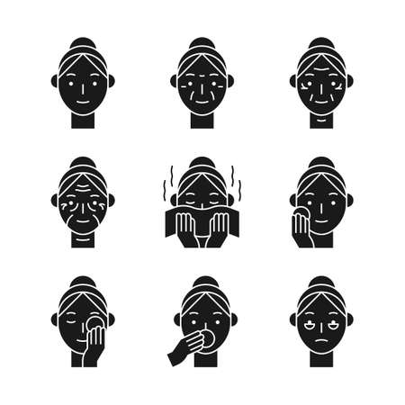 Beauty, cosmetics, skin care concept line icons set. Flat design illustration 031