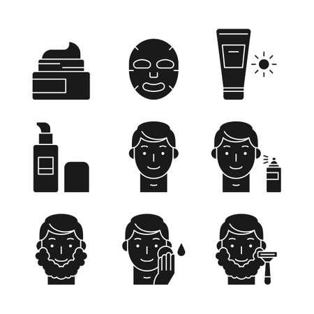 Beauty, cosmetics, skin care concept line icons set. Flat design illustration 043