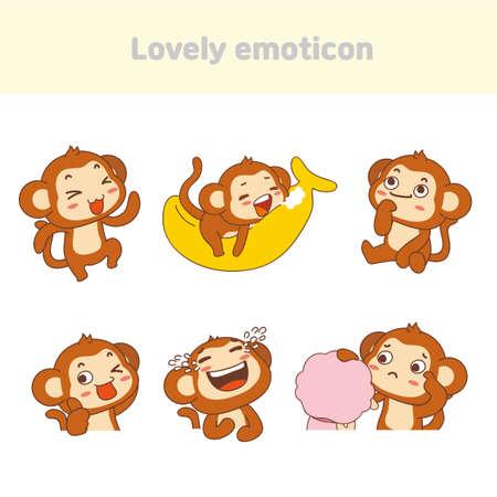 Cute lovely character emoticon set illustration 009 일러스트