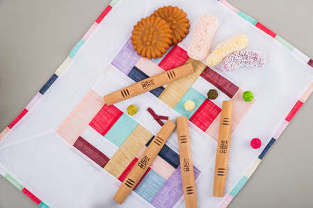 the Korean traditional wrapping cloth, refreshments and greeting card 141 스톡 콘텐츠 - 150671169