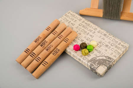 the Korean traditional wrapping cloth, refreshments and greeting card 144 스톡 콘텐츠 - 150671440