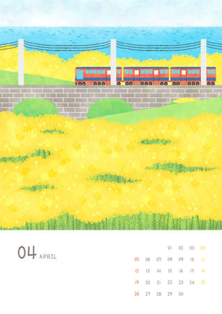 Monthly calendar template with seasonal landscape illustration. 004