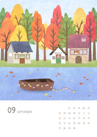 Monthly calendar template with seasonal landscape illustration. 009