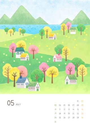 Monthly calendar template with seasonal landscape illustration. 005