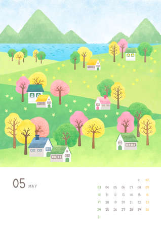 Monthly calendar template with seasonal landscape illustration. 005