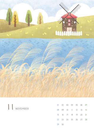 Monthly calendar template with seasonal landscape illustration. 011 Reklamní fotografie