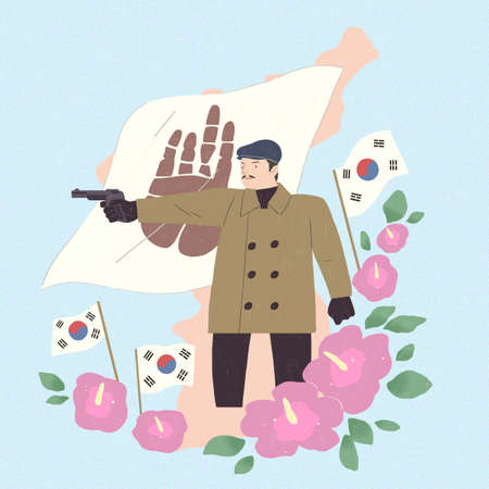 the historic events of Korea illustration. to celebrate and memorial days in Korea. 009
