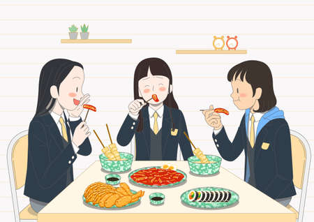 Group of people is eating food illustration. People having a great time 006 스톡 콘텐츠 - 150671677
