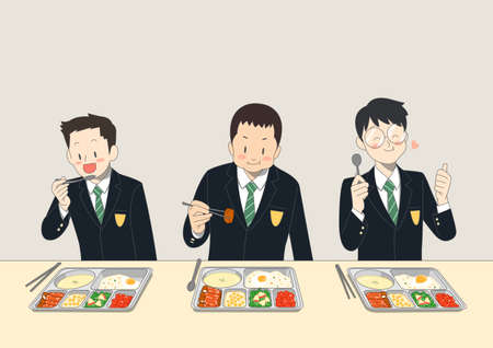 Group of people is eating food illustration. People having a great time 004 스톡 콘텐츠 - 150675080