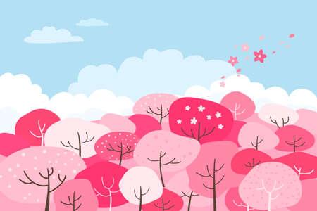 Illustration of a spring landscape with pink flower trees. Çizim