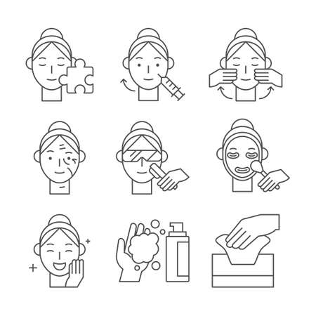 Beauty, cosmetics, skin care concept line icons set. Flat design illustration Vektoros illusztráció