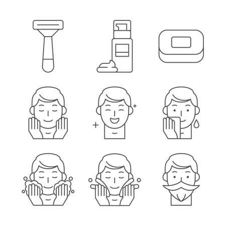 Beauty, cosmetics, skin care concept line icons set. Flat design illustration