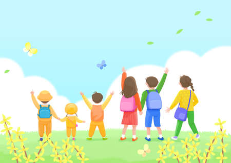 Start a new life concept, happy group of people from the back illustration 006