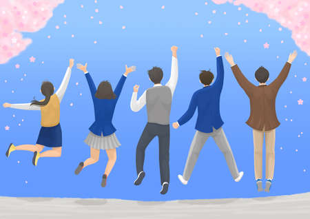 Start a new life concept, happy group of people from the back illustration 004 스톡 콘텐츠 - 150827289