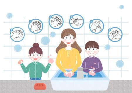 Preventive measures against the virus illustration 001 Stock Photo