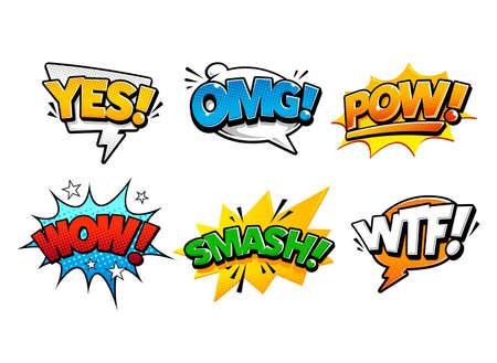 Comic speech bubbles in pop art style illustration 005