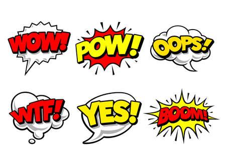Comic speech bubbles in pop art style illustration 008