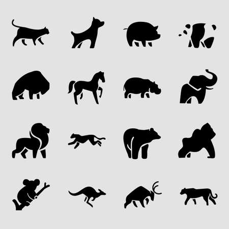 Set of different animals icon flat style illustration 003