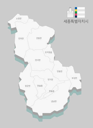 Local map of South Korea line vector illustration 004