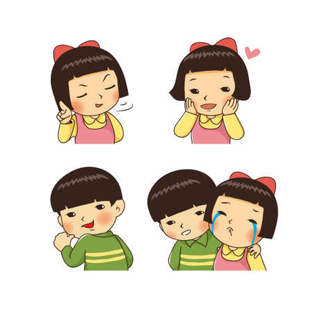Faces with different emotions in cartoon style illustration 002 일러스트