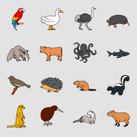 Set of different animals icon flat style illustration 007 Illustration