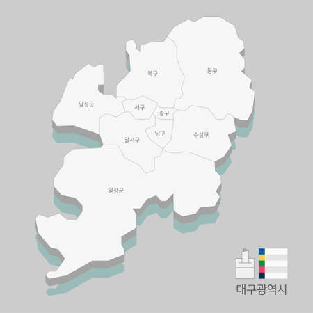 Local map of South Korea line vector illustration 009