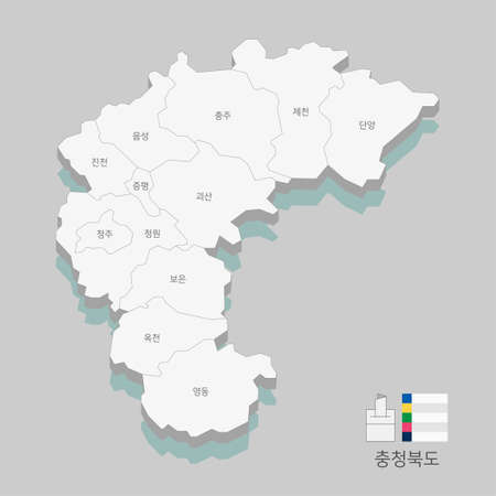 Local map of South Korea line vector illustration 011