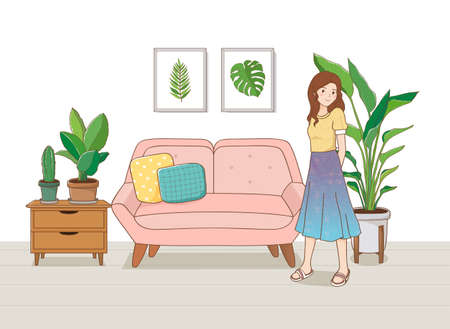 Indoor garden concept, houseplant with woman illustration