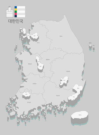 Local map of South Korea line vector illustration