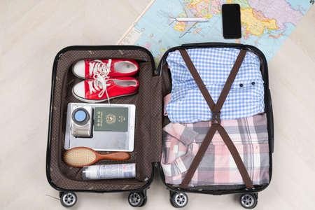 Travel concept- traveler accessories on colorful background Foto de archivo