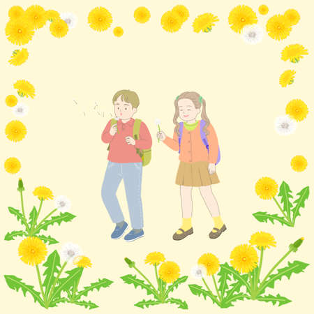 Spring floral frame with happy people illustration 스톡 콘텐츠 - 152788208