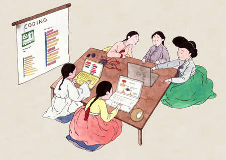 Korean retro pop art style, traditional education concept illustration 스톡 콘텐츠 - 152788325