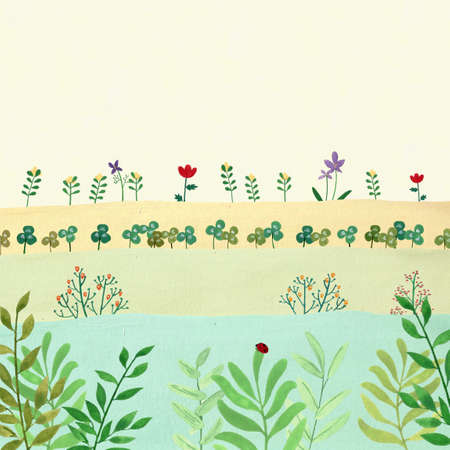Landscape nature with vintage color illustration