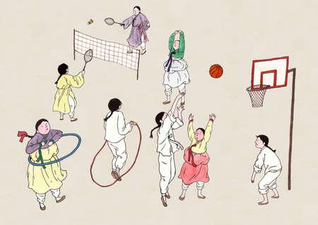 Korean retro pop art style, traditional education concept illustration 스톡 콘텐츠 - 152788892