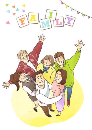 We are family. Concept of happy family illustration Standard-Bild