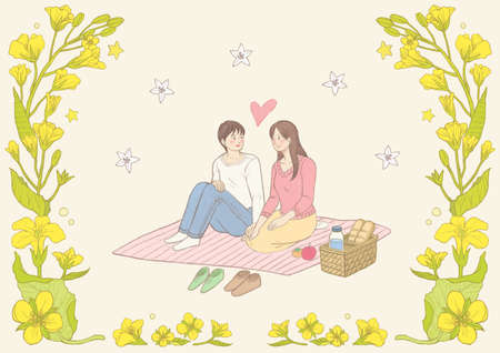 Spring floral frame with happy people illustration