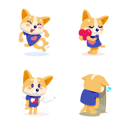 Cute little dogs showing various emotions and actions illustration