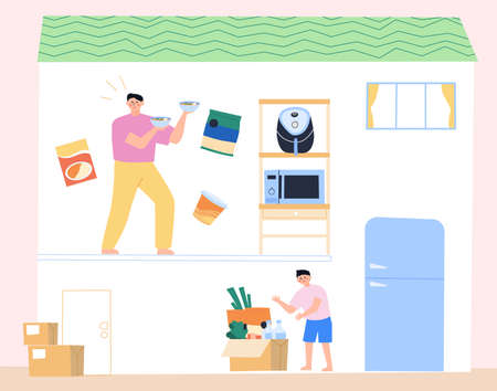 Daily lifestyle in house, daily routine in flat illustration